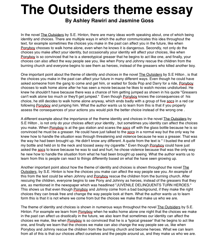 the outsiders theme essay ashleyrawirioc